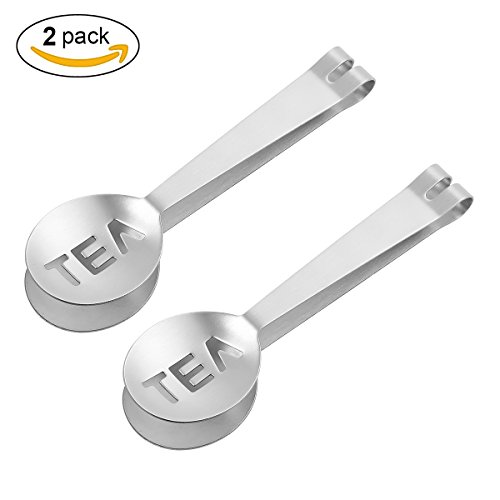 Stainless Steel Tea Bag (Tea Bag Spoon - Aieve 2 Pack Stainless Steel Tea Bag Strainer Tea Bag Squeezer Tongs Tea Bag Holder Grip Metal Spoon Mini Sugar Clip Kitchen Bar Ice Cubes Tools)