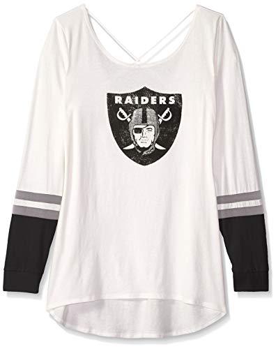 (NFL Oakland Raiders Female OTS Scoop Back Long sleeve Tee Distressed, Sandstone, Large)