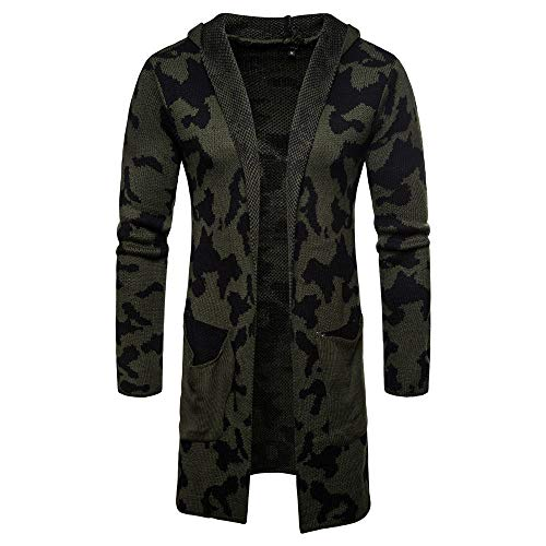 GOVOW Men's Cardigan Sweaters with Buttons Hooded Knit Camouflage Coat Jacket Long Sleeve Tops(XL,Army Green)