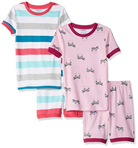 Amazon Essentials Toddler Girls' 4-Piece Sleeve Short Pajama Set, Zebra Stripe 3T