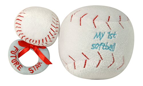 Ultra Soft Plush My First Ball and Plush Rattle Ring Set, Softball
