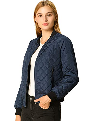 Allegra K Women's Raglan Long Sleeves Quilted Zip Up Bomber Jacket with Pockets Small Blue
