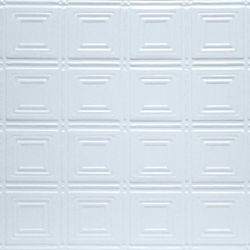 Shanko W204LIG Pattern 204 Pressed Metal Lay-in Grid Ceiling Tile, 20 sq. ft, White, 5 Piece (Tile Decorative 5 Piece)