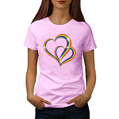 TANLANG Womens Rainbow Heart Print Short Sleeve T-Shirt Trim O-Neck A-Line Tunic Blouse Tops for Women Sunmmer Loose Tees