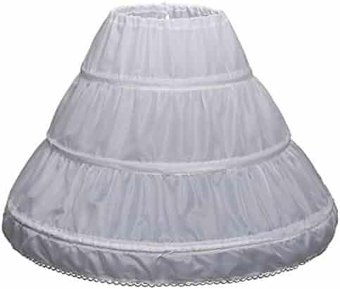 Carat Girls' 3 Hoops Petticoat Full Slip Flower Girl Crinoline Skirt(7-13 yrs,White)