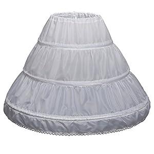 Abaowedding Girls' 3 Hoops Petticoat Full Slip Flower Girl Crinoline Skirt