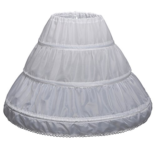 Abaowedding Girls' 3 Hoops Petticoat Full Slip Flower Girl Crinoline Skirt(7-13 yrs,White) ()