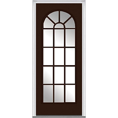National Door Company Z011814L Fiberglass Smooth Polished Mahogany, Left Hand In-swing, Prehung Front Door, Full Lite Round Top, 32