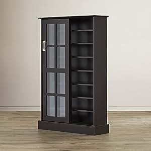 Amazon Com Multimedia Storage Cabinet With Sliding Glass