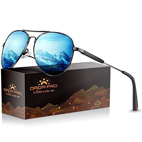 Aviator sunglasses for Men Womens Polarized Retro Vintage Shades – DADA-PRO Designer Mirrored for Fishing Driving Cycling, UV 400 Protection Goggles (Blue) (Polarized Aviator Shades)