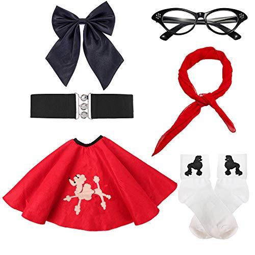 50s Girls Costume Accessory Set - Poodle Skirt,Elastic Cinch Belt,Ponytail Holders,Chiffon Scarf,Cat Eye Glasses,Bobby Socks (OneSize, -