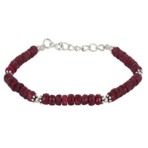 Silverly Women's .925 Sterling Silver Red Ruby Gemstone Flower Bead Bracelet, 18+2cm - Silver Bracelet Thai Gemstone