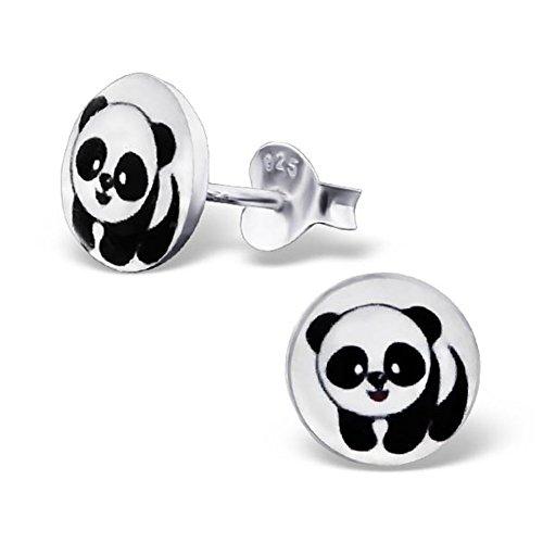 Round Heavy Earrings - Panda Bear Silver Studs Earrings Round Cute for Girls 925 Stering Silver (E19715)