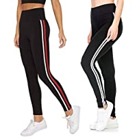 INFISPACE® Women & Girls Sporty Double Line Cropped Jegging for Yoga, Gym and Sports (Pack of 2) Black