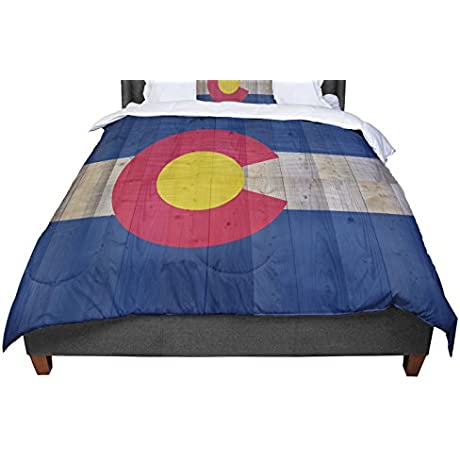 KESS InHouse Bruce Stanfield Flag Of Colorado Blue Red Twin Comforter 68 X 88
