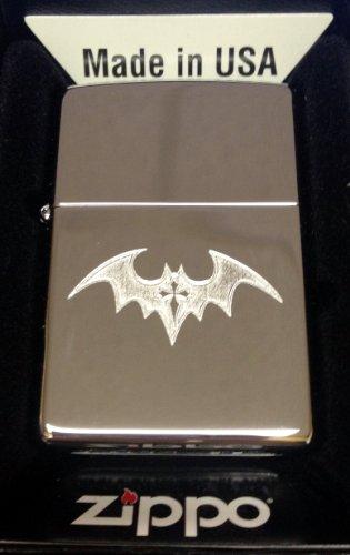 (Zippo Custom Lighter - Dark BAT with Gothic Cross Tattoo High Polish Chrome Rare!)