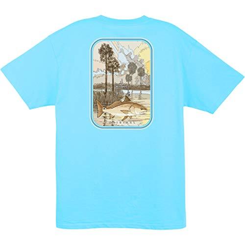 Guy Harvey Redrise S/S Redfish Pocket T-Shirt (Pool Blue, XX-Large)