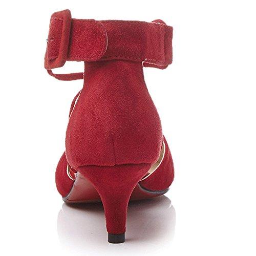 Nine Seven Cuero Puntiagudos Sandalias de Vestir de Tacón Aguja con la Hebilla para Mujer Rojo