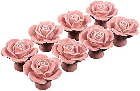 fbc6239a8cc38 SurePromise 8PCS Ceramic Vintage Floral Rose Door Knobs Handle Drawer  Kitchen + Screw Pink