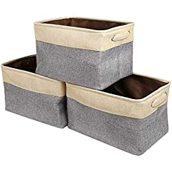 Zonyon Storage Basket Bin, Collapsible Fabric Canvas Storage Cubby Organizer with Handle for Shelves,Closet,Bathroom,Office,Home,Living Room,Toys,Diapers,Baby Clothes,Makeup,Grey,3 Sets