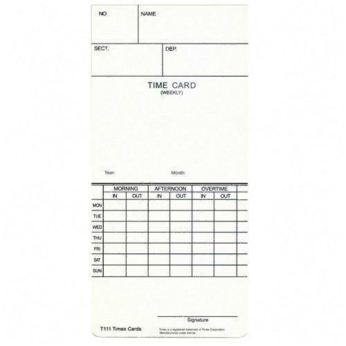 Time Cards, For T100 Time Clock, 250/PK, White, Sold as 1 pack