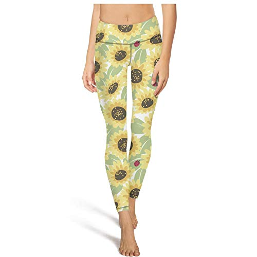 Womens Capris Legging Sunflowers and Ladybugs Pattern Yoga Pants Stylish Pockets Leggings