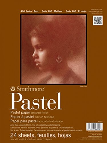 "Strathmore 403-9 400 Series Pastel Pad, Assorted Colors, 9""x12"" Glue Bound, 24 Sheets"