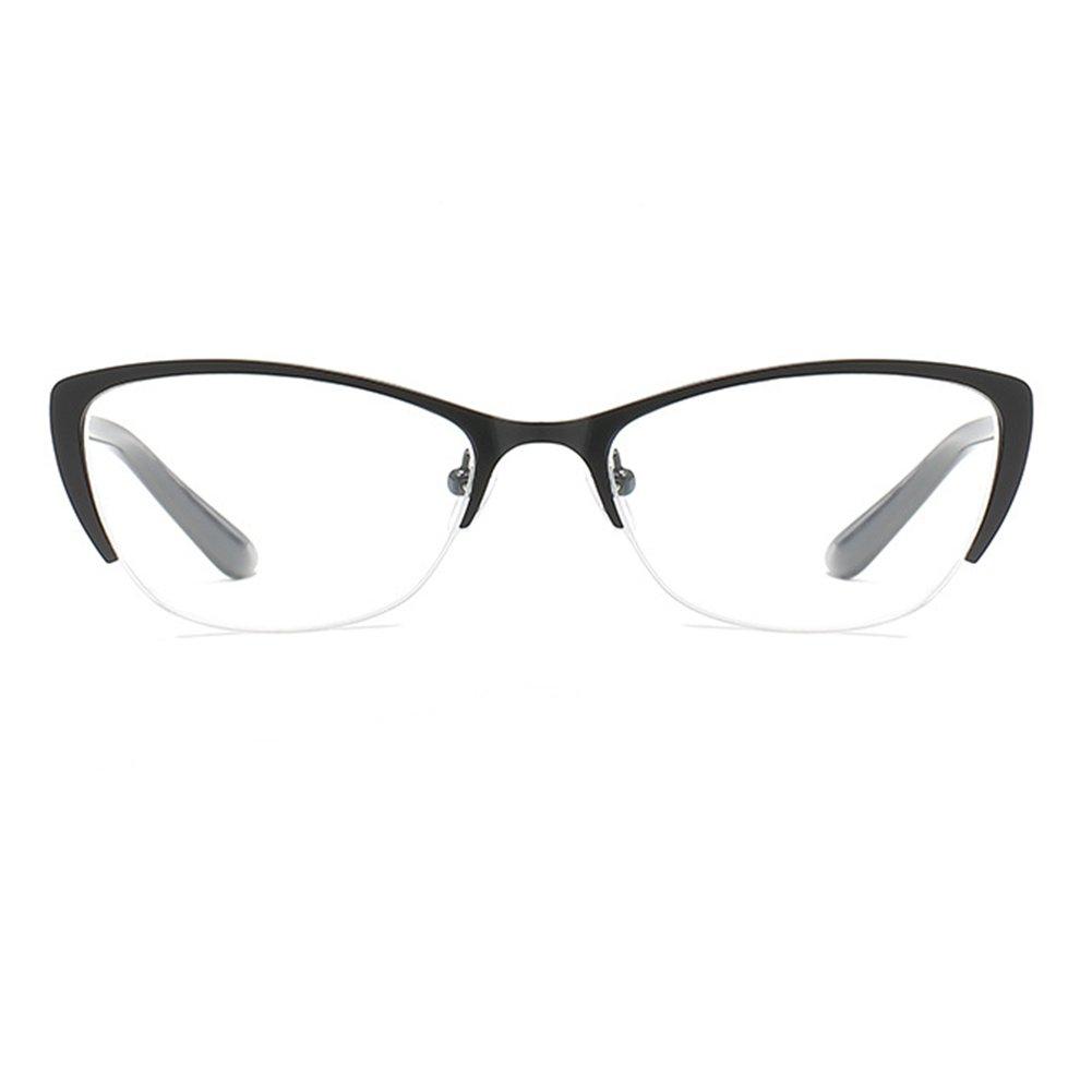 Yefree Occhiali da lettura per occhi in metallo Mezza montatura trasparente Occhiali da vista Occhiali da vista Forza +1.0 a +4.0
