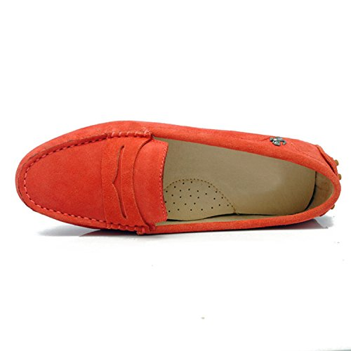 Minishion Girls Womens Casual Comfortable Suede Leather Driving Moccasins Loafers Boat Shoes Flats Orange Red EbLixv45B