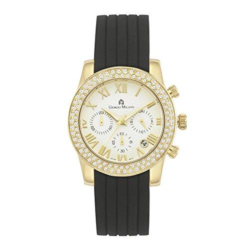 Giorgio Milano1001SG0213 Stainless Steel gold w/ Swarovski Crystal Bezel,Chronograph,rubber watch