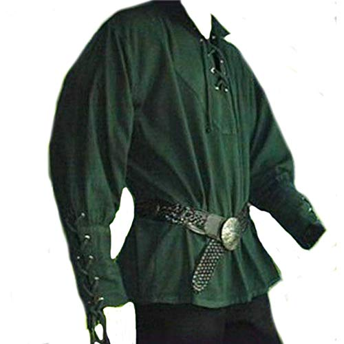 Newhui Men's Medieval Gothic Long Sleeves Lace Up Pirate Cosplay Shirt Renaissance Knight Soldier Suit