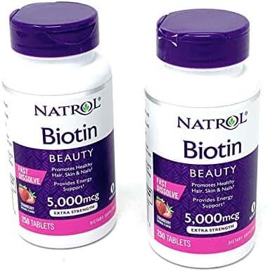 Natrol Biotin 5000 mcg Fast Dissolve Tablets (Strawberry (2 Pack))
