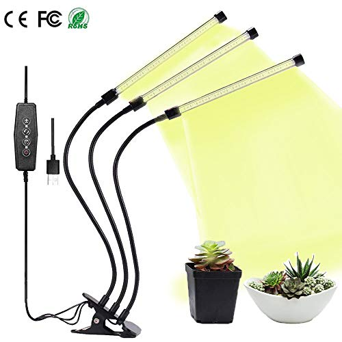 Grow Light, Grow Lamps for Indoor Plants, 27W 60 LED 3-Head Growing Chips with Auto ON & Off Timer, Adjustable 360 Degree Gooseneck, 5 Dimmable Levels, 3/9/12H Timer (Full Spectrum)