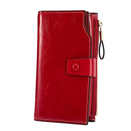 WOZEAH Women's RFID Blocking Large Capacity Luxury Wax PU Leather Clutch Wallet Card Holder Organizer Ladies Purse (red)