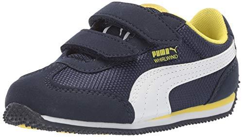 PUMA Unisex-Baby Whirlwind Velcro Sneaker, Peacoat-Blazing Yellow White, 7 M US Toddler