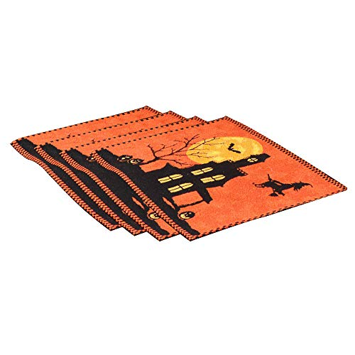 PRODECOR 13x18,4pcs Set, Halloween Placemat Orange,Witch Bat Table Decorations, Perfect Dinner Parties Scary Movie Nights ()