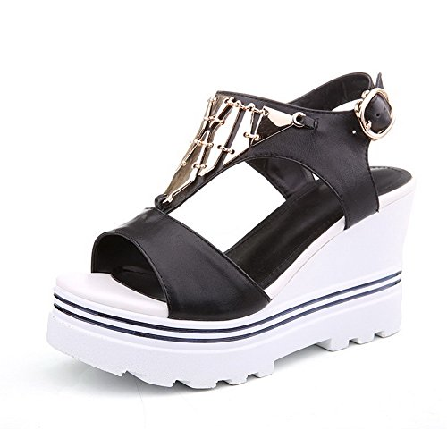 AmoonyFashion Womens Open-Toe High-Heels Soft Material Solid Buckle Sandals Black u3jgWQi0RA