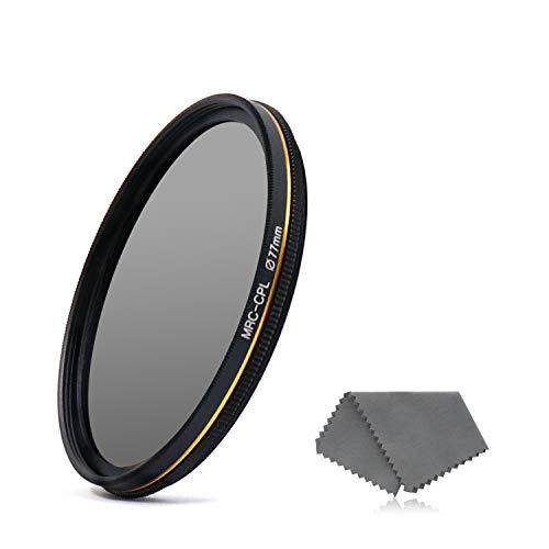 LENSKINS 77mm CPL Circular Polarizing Filter for Camera Lenses, 16-Layer Multi-Resistant Nano Coated, Ultra Slim, German Optics Glass, Weather-Sealed, Circular Polarizer Filter with Lens Cloth