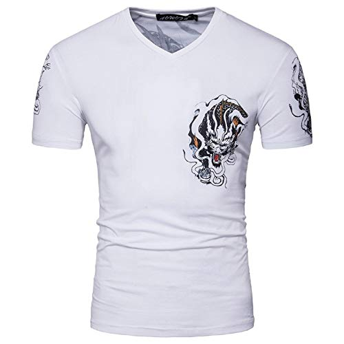 Fuumiol Fashion Casual Blouse Clothes Summer Men's Comfortable Color Cotton V-Neck Dragon Print Short Sleeve Top Tee Shirt White ()