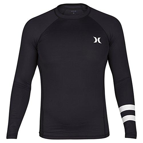 Hurley Big Boys Pro Light Long Sleeve Rash Guard Sun Protection Shirt, Black, S