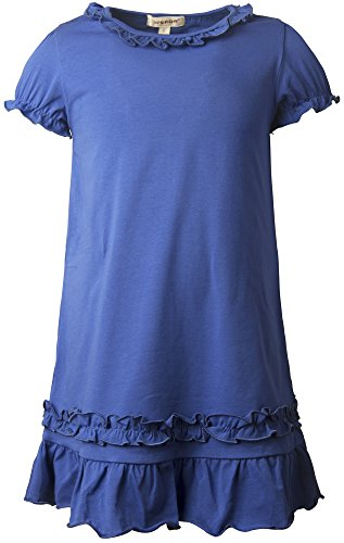Ipuang Girls' Casual Ruffle Short Sleeves Dress Blue 8 (Neon Tutus For Sale)