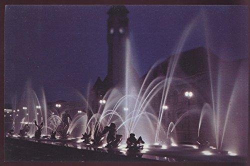 Carl Milles Fountain Aloe Plaza Nighttime Statue Water Missouri Postcard Louis