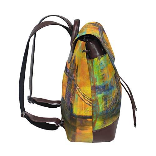 London Tower abstrakt bro ryggsäck handväska mode PU-läder ryggsäck ledig ryggsäck för kvinnor