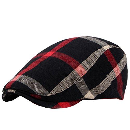 (Eohak Cotton Berets Caps - Classical Plaid Check Hat Vintage Casual Outdoor Newsboy Hat Painter Unisex Visor Forward Hat (Black))