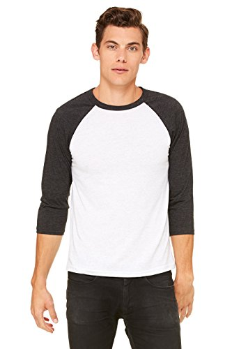 Bella Wholesale (Bella + Canvas Unisex 3/4-Sleeve Baseball T-Shirt XS WHT FLCK/ CHR TR)