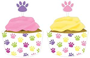 12-Count Cupcake Topper Decorations with Matching Wrappers, Purr-Ty Time