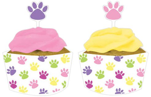 Creative Converting Purr-Ty Time Cupcake Topper Decorations with Matching Baking Cup Wrappers, 12 Count, Health Care Stuffs