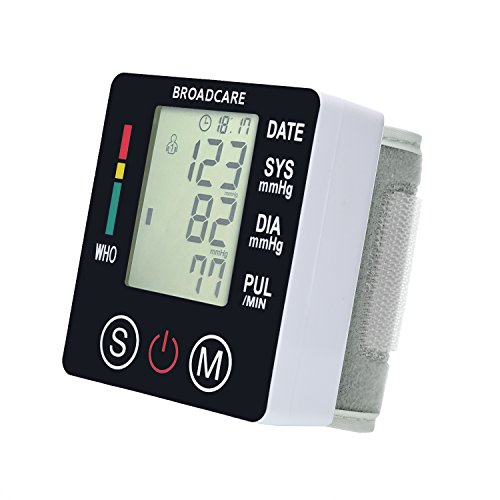 BROADCARE Wrist Blood Pressure Monitor Digital USB Rechargeable Fully Automatic Measure Blood Pressure and Pulse for Home Travel use, 2 User Modes ( 2 x 99 Memory ), Large LCD Display