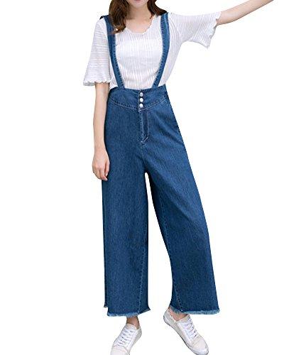 Marino Pantaloni Quge Playsuits Harem Donna Jeans Alta In Salopette Blu Rompers Vita Lunghi 7fSqvc7Wx