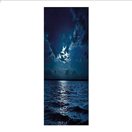 3D Decorative Film Privacy Window Film No Glue,Night,Majestic Dramatic Sky Clouds and Full Moon Over Seascape Calm Tranquil Ocean,Dark Blue White,for ()